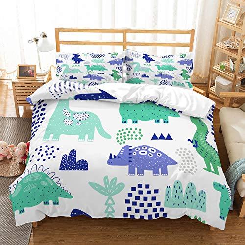 MOUMOUHOME Juego de ropa de cama para niños y niñas, diseño de dinosaurios, color verde, azul, fondo de montañas, 3D, color blanco, 1 funda de edredón y 1 funda de almohada