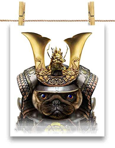 FOX REPUBLIC 【可愛い パグ ドッグ 犬 いぬ いぬ 将軍 日本 JAPAN】 余白部分にオリジナルメッセージお入れします!ポストカード・はがき(白背景)