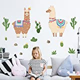 Yovkky Summer Large Llama Wall Decals, Tropical Cactus Peel Stick Sticker Alpaca Animal Nursery Decor, Home Kitchen Living Play Room Decorations Baby Boy Girl Bedroom Art Party Supply Gift