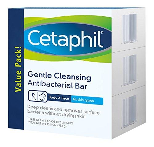 Cetaphil 3 Piece Gentle Cleansing Antibacterial Bar Value Pack, 13.5 Ounce