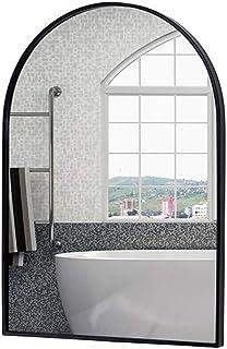 C-J-Xin Metal Bathroom Mirror, Living Room Bedroom Decorative Mirror Metal Waterproof Men's Shaving Mirror Creativity Coffee Shop Wall Mirror Makeup Mirror (Color : Black, Size : 40 * 70CM)
