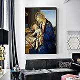 Stampe su Tela Sandro Botticelli la Madonna col Bambino alla Parete la Madonna del Libro Riproduzione Quadri Famosi Decor 60x90cm