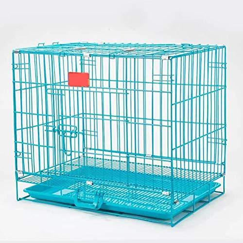 Zhyaj Gabbia di Transporto Pieghevole per Cani Cuccioli con 2 Porte E Vaschetta Rimovibile in Plastica,Blu,M:60 * 42 * 52CM