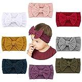 Makone Baby Stirnband, Handgefertigtes Stretch Nylon Stirnband, mit Schleife Stirnband 5,5 Zoll Große Haarschleife, Geeignet für Baby Girls,8er Pack