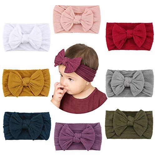 Makone Baby Stirnband, Handmade Stretchy Nylon Stirnband mit Bögen Pom Pom Brötchen 5,5 Zoll Big Hair Bow Stirnband für Infant Baby Girls 8er Pack