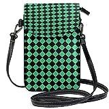 XCNGG Monedero pequeño para teléfono celular Black Rhombus Green Diamond Cell Phone Purse Wallet for Women Girl Small Crossbody Purse Bags