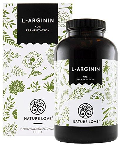 NATURE LOVE L-Arginin - Vergleichssieger 2019* - 365 vegane Kapseln. Hochdosiert: 4500mg L-Arginin HCL (=3750mg reines L-Arginin) je Tagesdosis. Pflanzliche Fermentation....