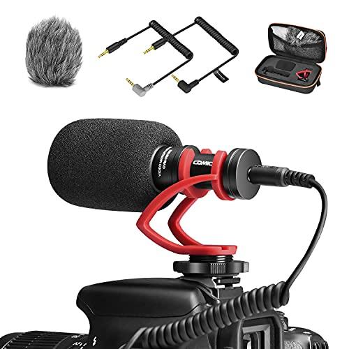 ビデオマイク COMICA CVM-VM10II R(赤) 外付けマイク スマホ カメラ用ミニマイク コンデンサーガンマイク 単一指向性 風防マフ付き パソコン用 Gopro 一眼レフ カメラ iOS&Androidスマホ対応