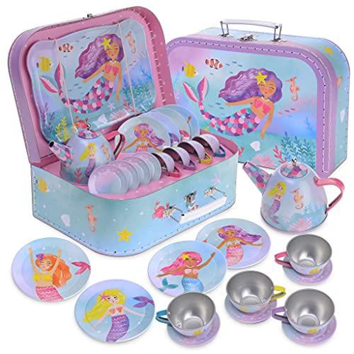 Jewelkeeper - Juego de té para niños con Estuche, Servicio de té Juguete de Metal, vajilla Infantil de 15 Piezas - Diseño de sinrena arcoíris