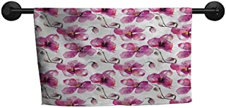 xixiBO Hand Towel W 28 x L 12(inch) Oversized Bath Towel,Watercolor,Flowering Orchid Branches Spring Time Feng Shui Inspired Bouquet,Fuchsia Cocoa Pale Orange