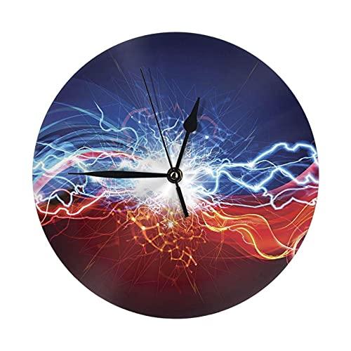 GOSMAO Reloj de Pared Redondo,Fulminación de Aurora,Reloj de Escritorio Reloj Decorativo para la Oficina de la Escuela en casa