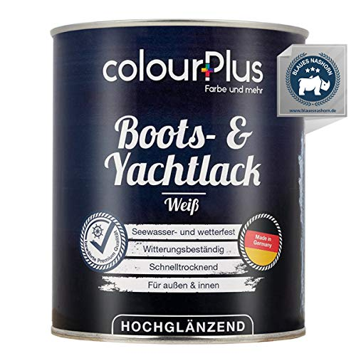 colourPlus® 1K Bootslack & Yachtlack (750ml, weiß) Bootslack Holz - Schiffslack - Bootslacke - Boot Lack - Klarlack Holz - Made in Germany