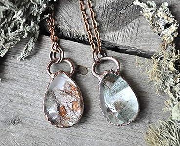 Handmade - Real Garden Phantom Quartz and Copper Necklace - Lodolite