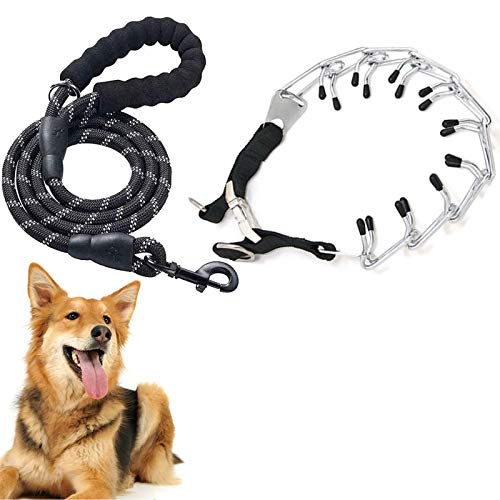 Dog Leash and Prong Collar Set, Rope Leash with Quick Release Buckle Dog Prong Training Collar, 4FT Heavy Duty Leash for Medium Large Dogs (Collar & Leash)