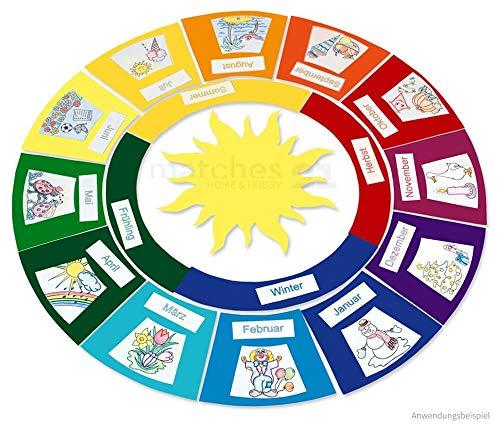 matches21 Jahreskreis mit Jahreszeiten Tonpapier / Papier Bastelset für Kinder Lernspiel ab 7 Jahren