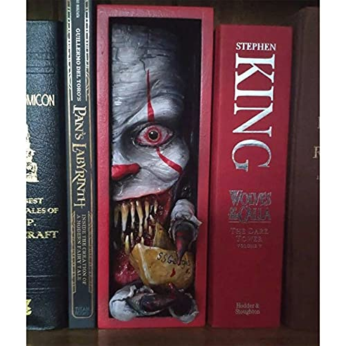 Peeping on The Bookshelf Monster,Personalized Bookends,Creative Resin Bookshelf Clapboard Decorations,for Collecting CD Albums Magazines Heavy Books,Decorative Bookends for Home/Office (A01)