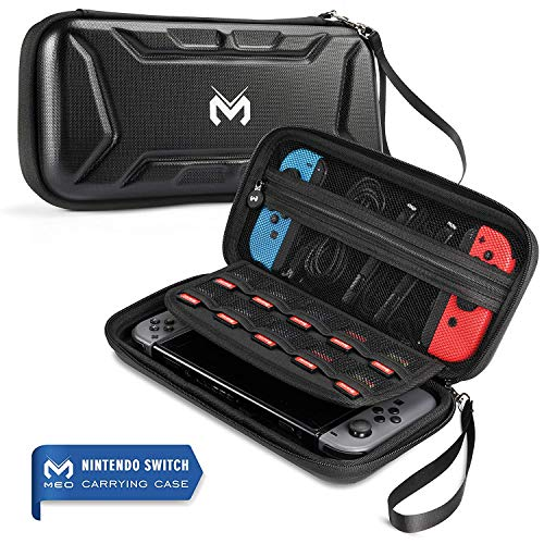 MEO Carrying Case Compatible with Nintendo Switch - All Protective Hard Shell Storage Stand Waterproof Travel Carry Case Bag for Nintendo Switch Console & Accessories (Black)