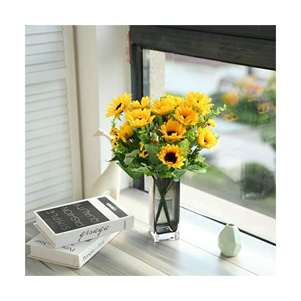 Tifuly Girasoles de Seda Artificial, Girasol Falso Realista para el hogar Hotel Oficina Boda Fiesta Decoración de jardín…