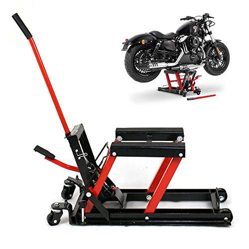 Futchoy - Cric idraulico per moto, 680 kg, supporto per moto, ponte sollevatore idraulico, 115-375 mm
