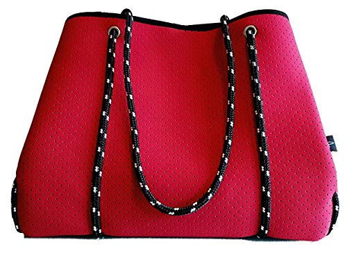 Light Designer Tote Bag for Women, Neoprene Shoulder Carry Hobo Bag, Large & Durable in Blood Red