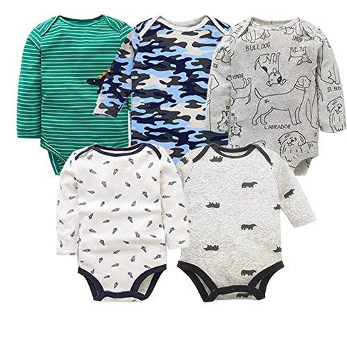 HAOJUE Mameluco de algodón de manga larga para recién nacido, 5 piezas, para bebés de 0 a 24 m (color: naranja, tamaño: 24 m)