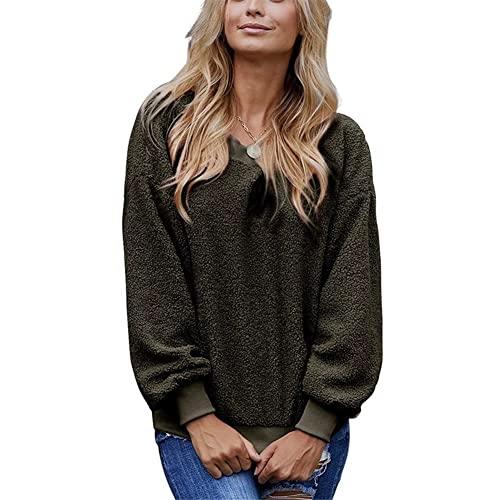 ZFQQ Otoño / Invierno Mujer Casual Color sólido Cuello Redondo Manga Larga Suelta suéter de Gran tamaño
