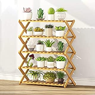 New Gardening Tools 5-Layer Balcony Living Room Collapsible Solid Wood Flower Stand Potted Planting Shelves, Length: 70cm