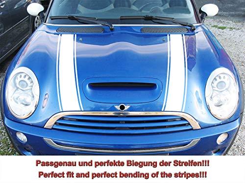 Streifen Stripes Aufkleber Motorhaube für R52 R53 S-Modell Mini Cooper (Weiss, Design 2)