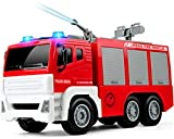 Gizmovine Fire Truck Toys for 3 Years Old Boys with Water Pump Lights and Sounds, 1:12 Scale Firetruck Fire Engine Toy Rescue Vehicle with Extending Ladder for Toddlers & Kids