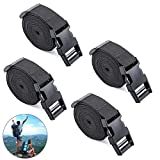 Utility Straps with Buckle Quick-Release Adjustable - 78'' Nylon Strap Black 4 Pack, Luggage Belt Adjustable, Outdoor Camping Packing Lashing Strap