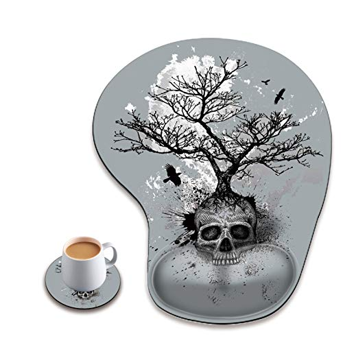 Ergonomic Mouse Pad with Wrist Rest, Cute Mouse Pad with Non-Slip Rubber Base, Suitable for Home Wffice Work, Black and White Skull Head Tree Custom Mouse Pad + A Round Coaster