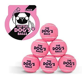 The Little Dog's Balls Lot de 6 balles de tennis pour chien Rose Taille S