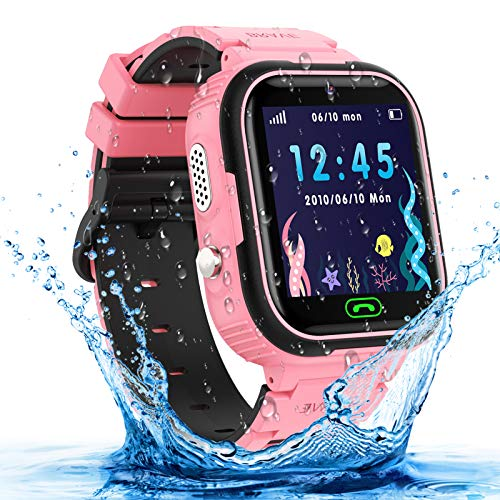 Kids Smart Watch, Waterproof GPS Tracker Smartwatch for Kids, Two-Way-Calling Watch Phone with HD Touch Screen, Camera, Alarm,Game, Christmas Birthday Gifts Toy for 3-12 Years Old Boys and Girls-Pink