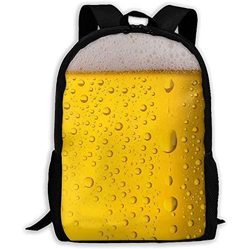 Zaino adulto unisex della bolla della birra della gocciolina di acqua, borse del libro di sport casuali della scuola, borse a tracolla durevoli del computer del college, zaini leggeri di viaggio