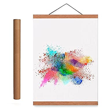 Benjia 24x36 24x18 Poster Frame, Light Wood Wooden Magnetic Poster Hangers Frames for Photo Picutre Canvas Artwork Art Print Wall Hanging(1 Pack, 24 )