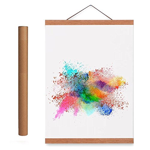 Benjia 36x24 36x48 36x12 Poster Frame, Magnetic Light Wood Wooden Frame Hanger for Photo Picutre Canvas Artwork Art Print Wall Hanging (1 Pack, 36', Teak Color)