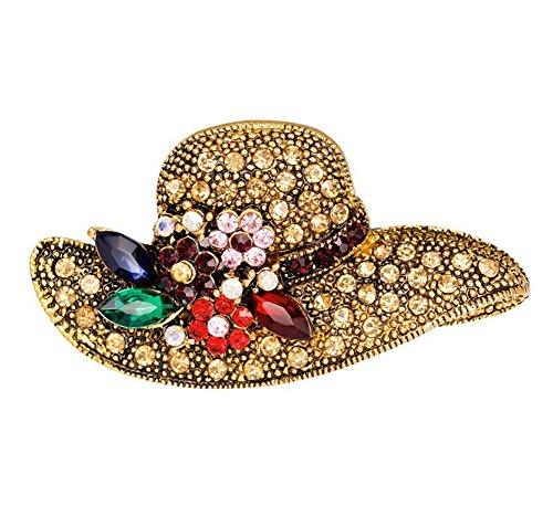 Gespout Donna da Sposa Vintage Retro Stile di Elemento di Cristallo Lega 3D Sunhat Shape Spilla Deco Ciondolo a Forma di Pulsante di Vestiti Sciarpe Ponchos