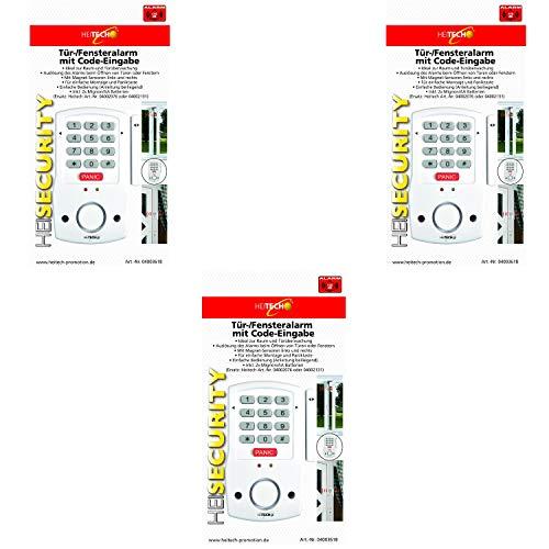 Heitech® 3er Set Tür- und Fensteralarm mit Code-Eingabe, inkl. 2X AA Batterien. Alarmanlage mit Bewegungsmelder als Einbruchschutz
