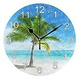Gokruati Reloj de Pared silencioso,Reloj de Cocina,Relojes de Cuarzo silencioso Que no Hace tictac,para Sala de Estar,dormitorios,(Diámetro: 25 cm),Árbol Tropical Junto al mar Pared Cielo Azul
