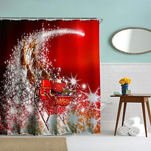 IcosaMro Weihnachts-Duschvorhang für Badezimmer mit Haken, Stern Weihnachtsmann Schnee Wald Dekorationen Badezimmer Gardinen – 71 B x 72 L, rot