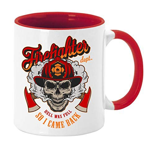 Taza de café con diseño para bomberos Hell was full, so I came back, altura: aprox. 9,7 cm, diámetro aprox. 8,2 cm Material: cerámica Capacidad: 300 ml Taza en caja de regalo (rojo)