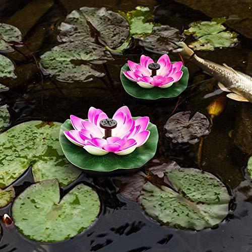 Athemeet Solar Lotus Brunnen,Solarbrunnenpumpe,Teichpumpe Garten Springbrunnen Schwimmende Seerose Teich Solarpumpe Blumen Wasserpumpe Wasserbrunnen für Gartenteich Pool Landschaft Deko