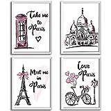4 Stücke Paris Wandkunst Drucke, Rosa Eiffelturm