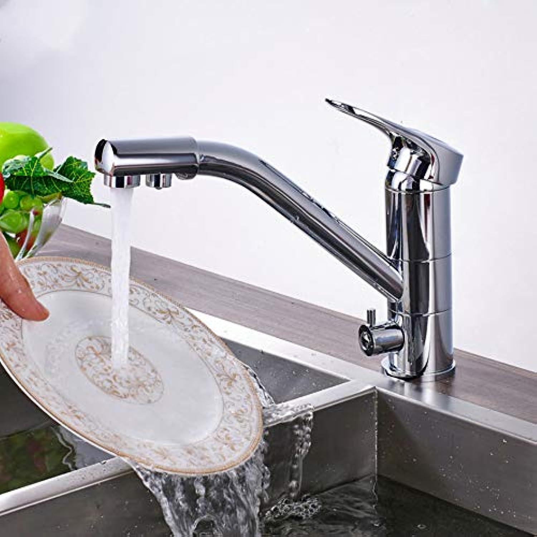 LLLYZZ Nickel gebürstet Küche trinkender Wasserhahn Doppelgriff reines Wasser Bad Spülbecken heien und kalten Mischer Wasserhhne EIN Loch