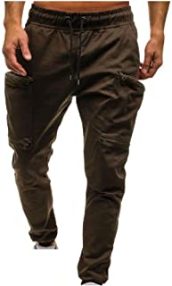neveraway Men's Camouflage Elastic-Waist Multi Pockets Casual Sport Baggy Pants