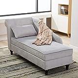 Storage Chaise Lounge Indoor Upholstered Sofa Recliner Lounge Chair for Living Room Bedroom Gray Velvet (Left Armrest)