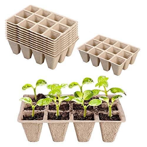 Paquete de 10 semilleros biodegradables,Bandejas biodegradables para plántulas,bandejas para semilleros,Macetas de turba, Mini macetas para Jardín Plántulas y Trasplantes (10)