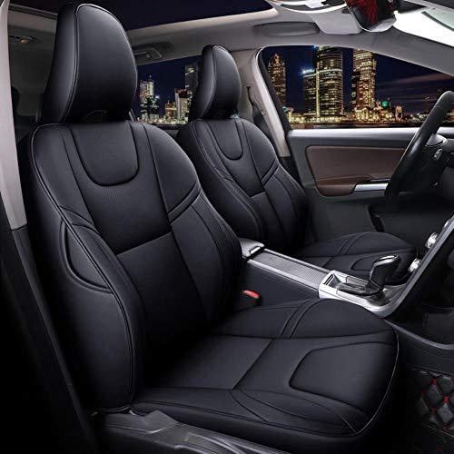 HIZH Coprisedile per Auto in Pelle (Anteriore + Posteriore) per Volvo S40, S60, S80, S90, XC40, XC60, XC70, XC90, V40, V60, V70, V90 Coprisedili per Auto, Edizione Standard-Nero Puro