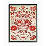 Stupell Industries Red and Blue Margarita Tequila Sugar Skull with Agave Orange and Lime Black Framed Wall Art, 11 x 14, Multi-Color