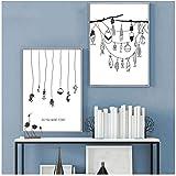 FUXUERUI Nórdico blanco y negro cebo de pesca cuadro de arte de pared lienzo pintura cartel estilo para sala de estar decoración del hogar/40x50cmx2...